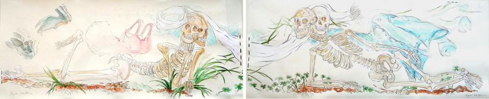 23.Liegende,-2010,-Acryl,-Aquarell,-Bleistift-auf-Paoier,-35-x-84,5-cm