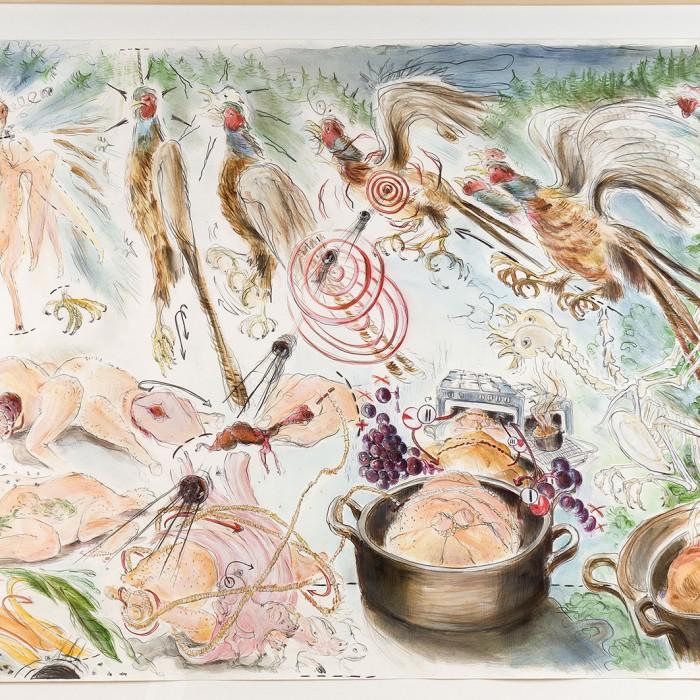 Aquarellfarbe, Acrylfarbe und Bleistift auf Papier 90 x 140 cm Sammlung Städtische Galerie Delmenhorst Foto Fabian Georgi