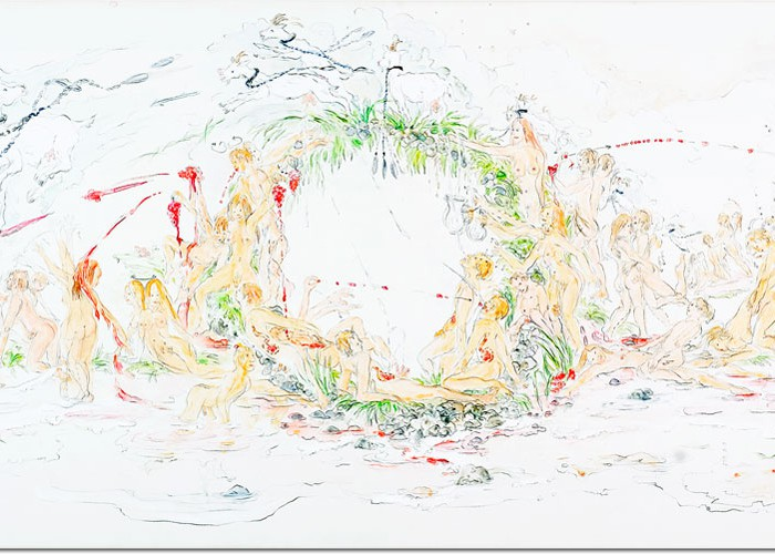 Milch-und Traubenfest, 2010 Bleistift, Aquarell, Acrylfarbe auf Papier, aufgezogen auf Leinwand   60  x 200 cm Privatbesitz Foto Carsten Gliese