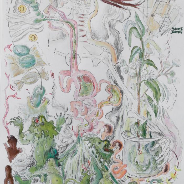 Gegenmittel, 2016 Aquarell,Bleistift, Buntstift, Acrylfarbe auf Papier  47,4 cm x 28 cm