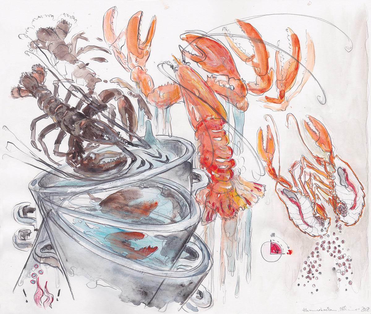 Hummerkochen, 2018 Aquarellfarbe, Acrylweiß, Buntstift und Bleistift auf Papier 29,7 cm x 35 cm